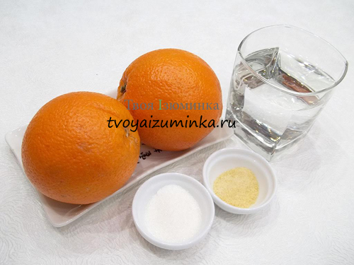 Десерт из апельсинов, ингредиенты