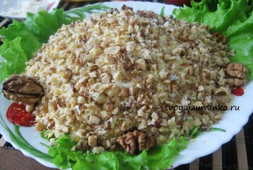 Салат «Черепаха» с курицей, яблоком и грецкими орехами — пошаговый рецепт с фото