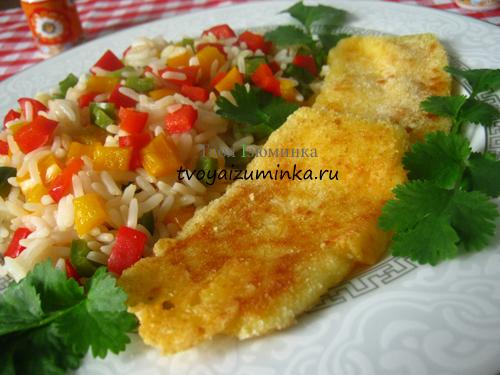 Сырный шницель с овощным гарниром