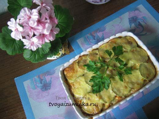 Кабачки с овощами, запеченные в духовке