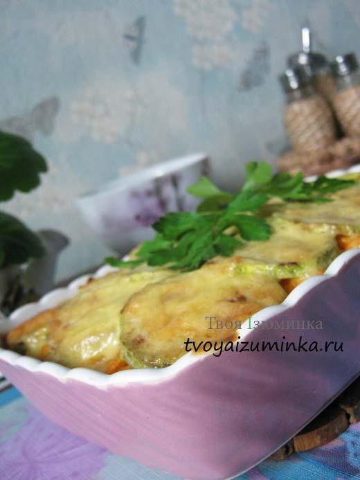 Запеченные кабачки в духовке с овощами