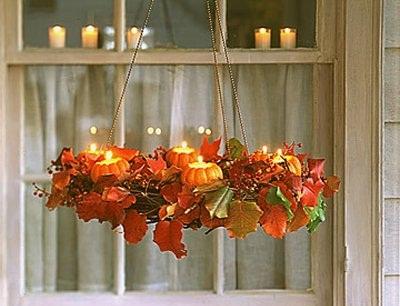 Декоративные тыковки в виде большого плафона