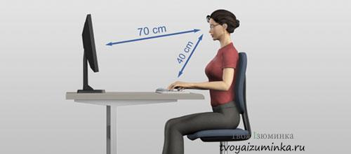 Расстояние от монитора компьютера до глаз
