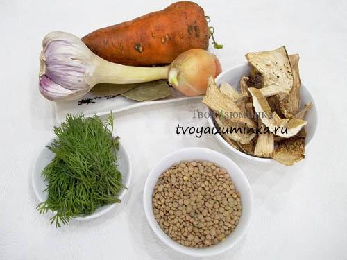 Cуп из чечевицы на грибном бульоне ингредиенты