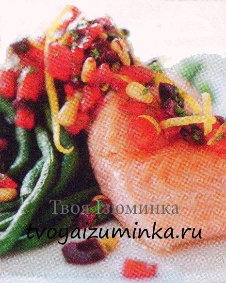 Паровая семга с овощами