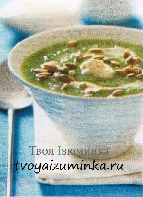 Суп-пюре из брокколи с тыквенными семечками