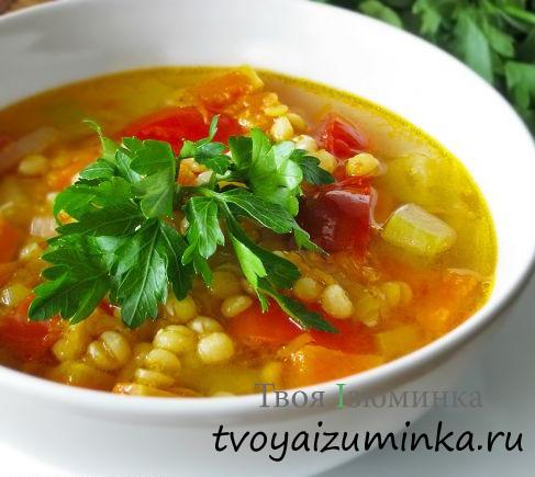 Постный гороховый суп с тыквой и репой