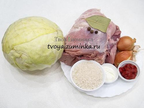 Голубцы с рисом и мясом ингредиенты