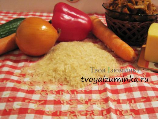 Перец, фаршированный овощами и рисом ингредиенты