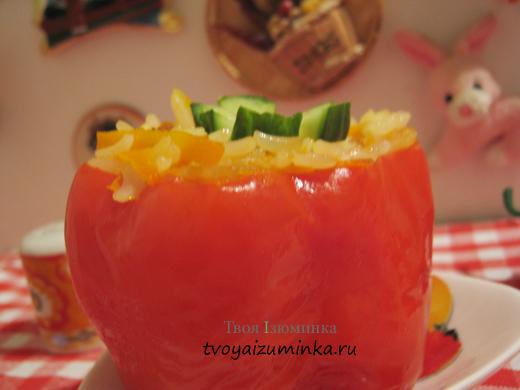 Рецепт фаршированного перца под соусом