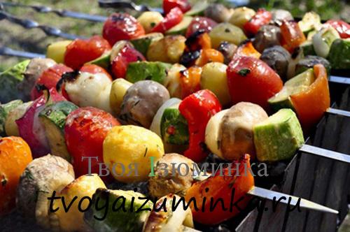 Шашлык из овощей под сладким маринадом