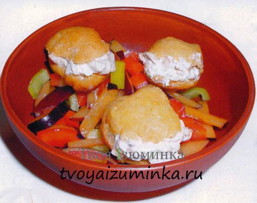 """Домашние заварные булочки из сыра """"Фетаки"""" и шампиньонов"""