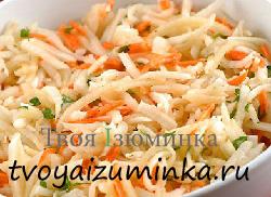 Морковный салат с яблоками и капустой.