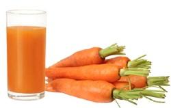 Сырые овощные соки. Морковный сок.