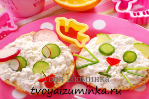 Полезный завтрак для школьника. Бутерброд с витаминной творожной массой.