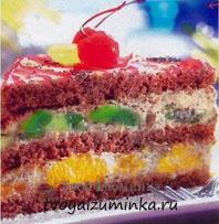 Торт из готовых бисквитных коржей с фруктами