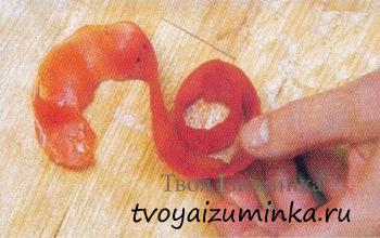 Украшения для стола из овощей - цветы из овощей своими руками. Розы из помидор.