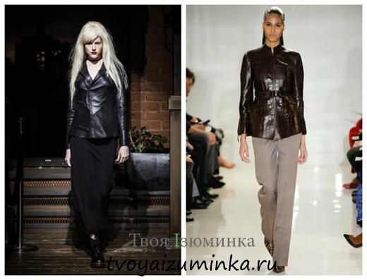 Кожаные куртки деловой стиль 2014-2015