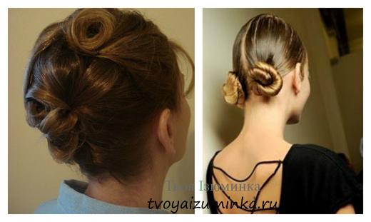 Прическа для длинных волос - пучки