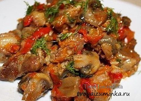 Тушеные овощи с грибами.