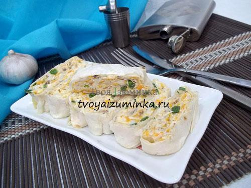 Мимоза в лаваше - новая подача любимого салата