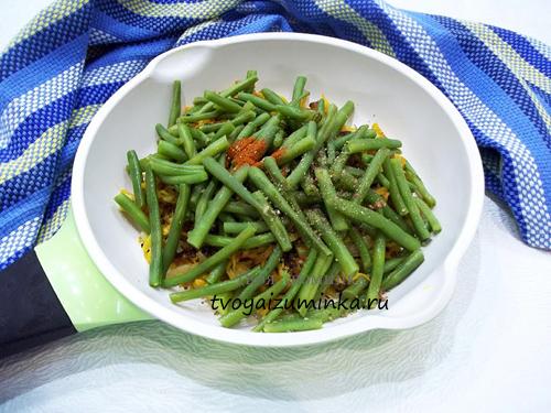 пассерованные овощи со спаржевой фасолью
