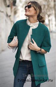 Полупальто зеленого цвета
