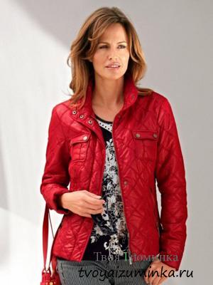 Стеганная красная куртка