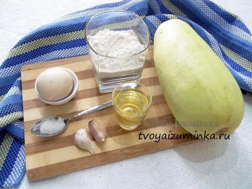 Кабачковые оладьи c чесноком, ингредиенты