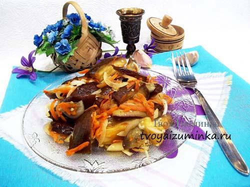 Маринованные баклажаны с морковью и чесноком