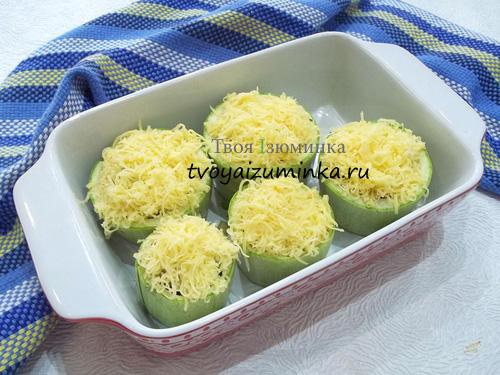 Фаршированные кабачки с сыром в форме для запекания