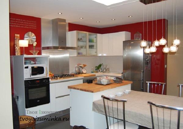 Освещение кухни по зонам