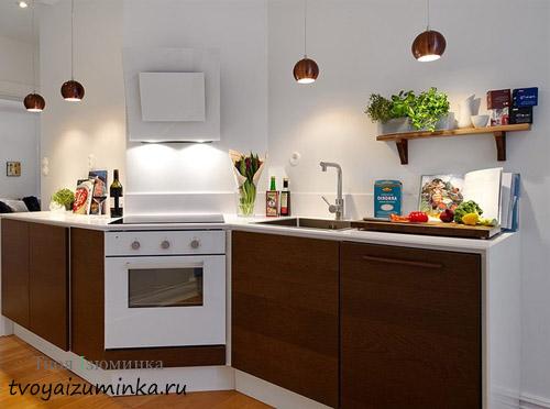 Освещение кухни трубчатыми светильниками