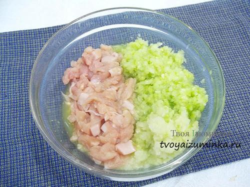 Овощи с рубленным мясом