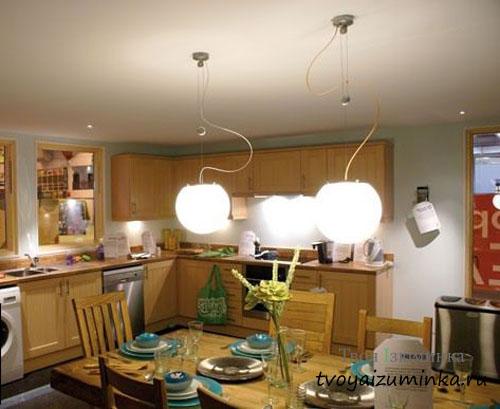 Потолочные люстры на кухне