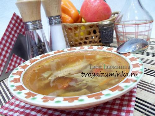 Суп на куриных крыльях и белых грибах
