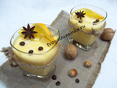 Легкий творожный десерт без выпечки с тыквой, апельсином и желатином