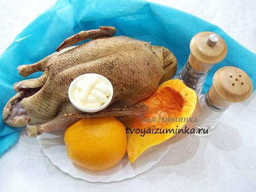 Запеченная утка, фаршированная тыквой и апельсинами, ингредиенты