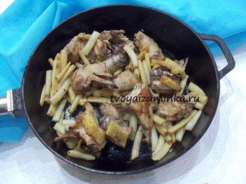 Стручковая фасоль и курица