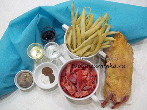 Тушеная курица овощами, ингредиенты