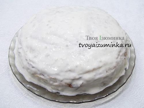 Обмазывание блинного торта кремом