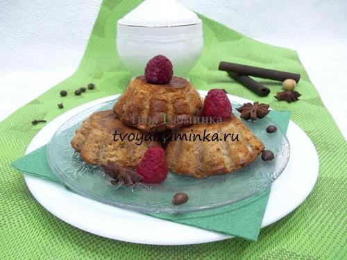 Шоколадные кексы с творогом и тыквой в силиконовых формочках, пошаговый рецепт с фото