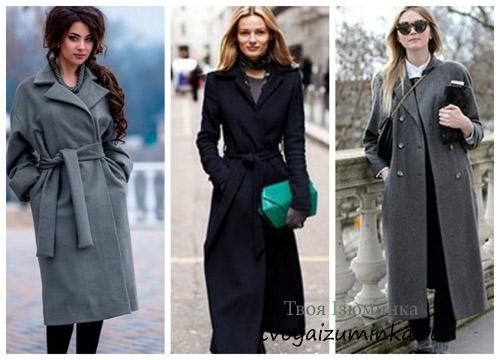 Длинные модели пальто классического кроя - 2016