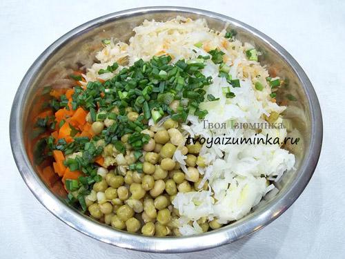 рецепт салата с капустой и зеленый горошек