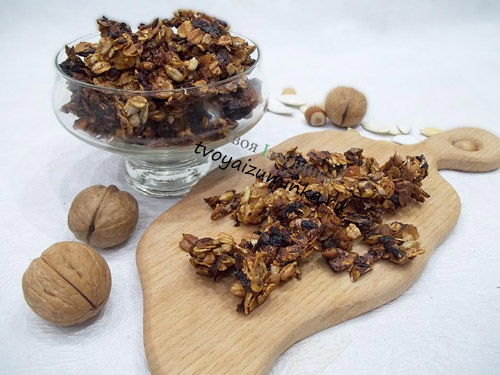 Как приготовить гранолу из овсянки орехов и меда в домашних условиях