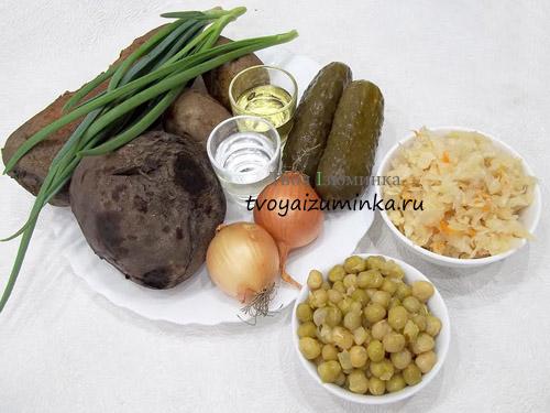 vinegret-s-kvashenoj-kapustoj-i-goroshkom-ingredienty