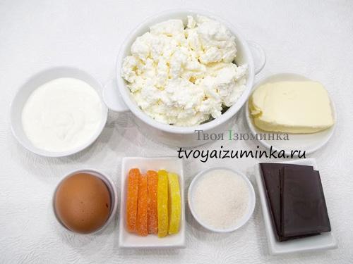 Шоколадная творожная пасха, ингредиенты