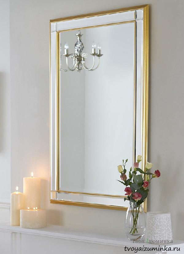 Классическое прямоугольное зеркало в позолоченной раме