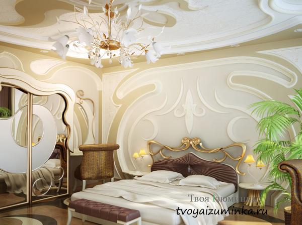 Спальня с зеркалом в стиле Модерн