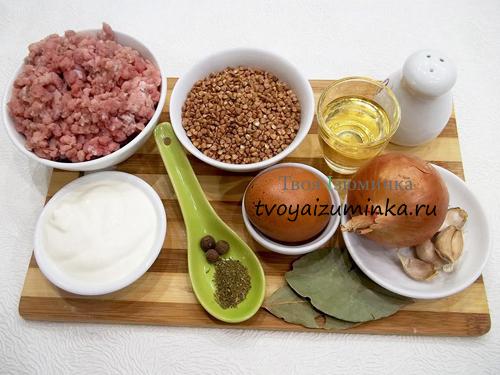 Тефтели с гречкой, ингредиенты